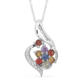 Rainbow Sapphire (Rnd) Floral Pendant with Chain (Size 18) in Rhodium Plated Sterling Silver