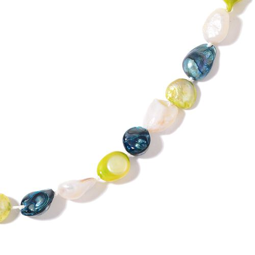 Fresh Water Green, Teal and White Pearl Necklace (Size 46)