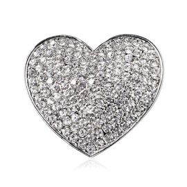 AAA  Austrian White Crystal (Rnd) Heart Brooch in Silver Plated.