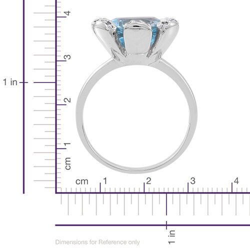 Sky Blue Topaz (Rnd), Natural Cambodian White Zircon Ring in Rhodium Plated Sterling Silver 7.500 Ct.