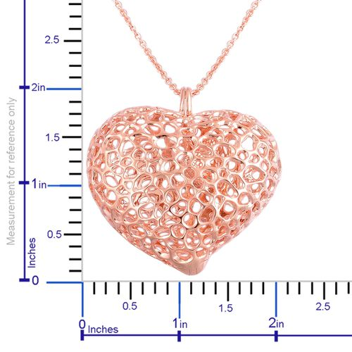 RACHEL GALLEY Rose Gold Overlay Sterling Silver Amore Heart Lattice Necklace (Size 30), Silver wt 33.23 Gms.