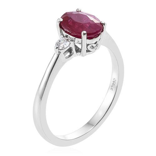 RHAPSODY 950 Platinum 1.75 Carat AAAA Burmese Ruby Ring with Diamond (VS/E-F)