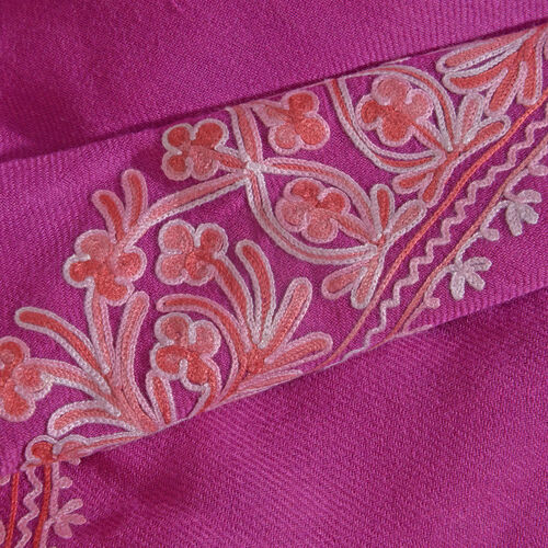 100% Merino Wool Plum Rose Shawl with Cashmere Embroidery (Size 180X70 Cm)