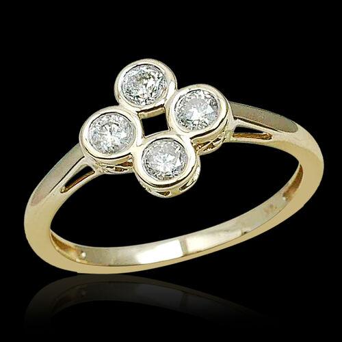 14K Yellow Gold 0.50 Carat IGI Certified Diamond Round I2 G-H Ring.