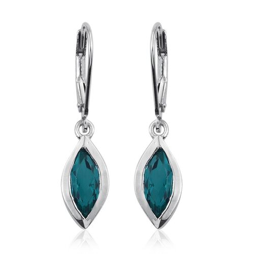 Capri Blue Quartz (Mrq) Lever Back Earrings in Platinum Overlay Sterling Silver 2.250 Ct.