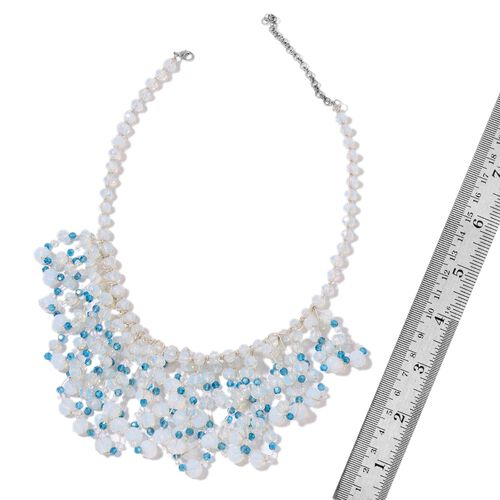 Simulated Opalite and Simulated Blue Diamond Waterfall Necklace (Size 18 with 3 inch Extender) in Silver Tone