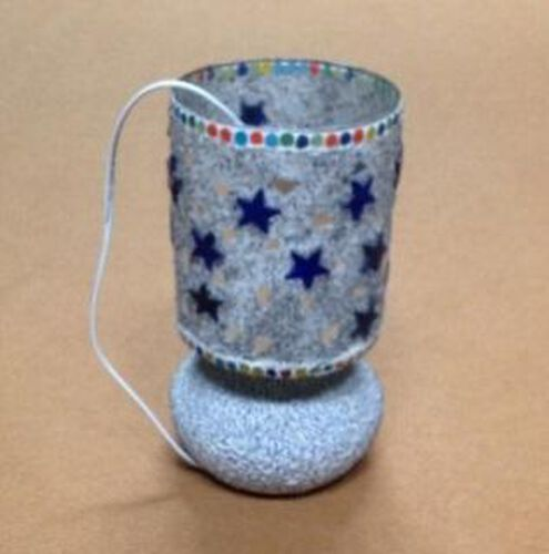 Home Decor - Beautiful Handmade Craft White Glass Mosaic Star Table Lamp with Electric Fitting