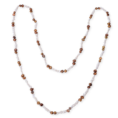 Fresh Water White and Brown Pearl Necklace (Size 50)