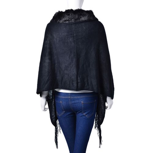 One Time Deal - Designer Inspired - Super Soft Black Colour Longer Line Kimono Cape with Faux Fur Collar (Free Size)