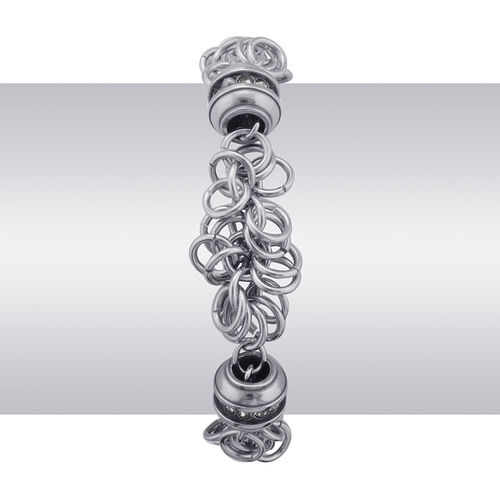 White Austrian Crystal Bracelet in ION Plated Stainless Steel (Size 8)