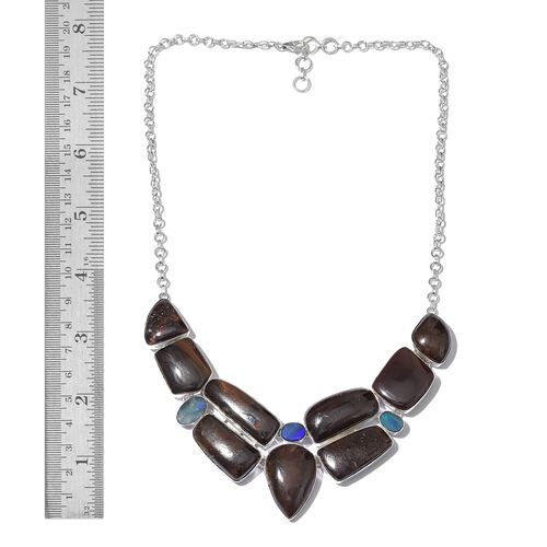 One Off A Kind- Boulder Opal Rock and Opal Double Necklace (Size 18 with 1 inch Extender) in Sterling Silver 197.310 Ct. Silver wt 28.54 Gms.