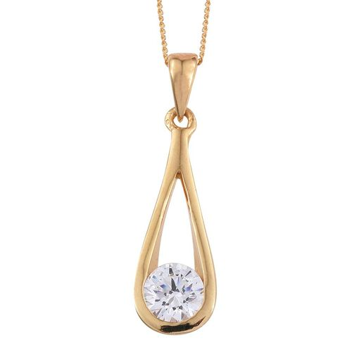 J Francis - 14K Gold Overlay Sterling Silver (Rnd) Solitaire Pendant with Chain Made with SWAROVSKI ZIRCONIA