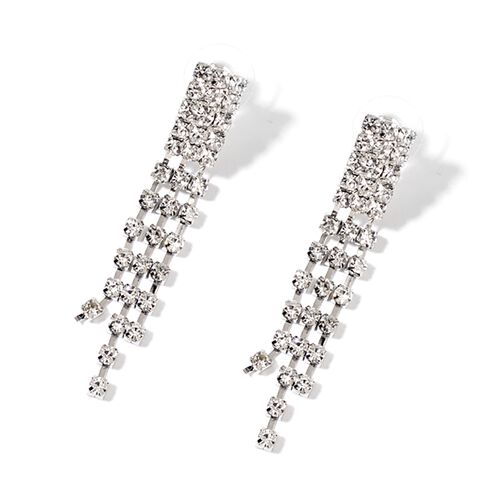 AAA White Austrian Crystal Necklace (Size 17 with 5 inch Extender) and Earrings (with Push Back) in Silver Tone