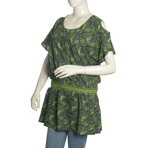 Green and Grey Colour Leaves Pattern Cutout Shoulder Dress (Free Size)