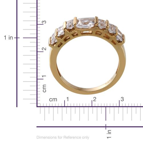 AAA Simulated Diamond (Sqr) Ring in 14K Gold Overlay Sterling Silver