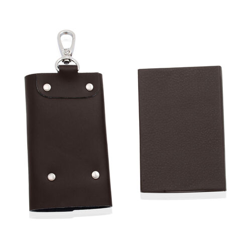 Dark Chocolate Colour Key Chain (Size 10.5x6 Cm) and Card Holder (Size 9.5x6.5 Cm) in Silver Tone