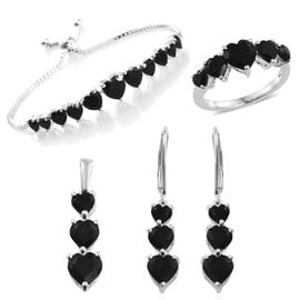 Boi Ploi Black Spinel (Hrt) Ring, Adjustable Bracelet (Size 6.5-7.5), Pendant and Lever Back Earrings in Sterling Silver 16.250 Ct. Silver wt. 12.19 Gms.