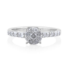 9K White Gold SGL Certified Diamond (Rnd 0.08 Ct) (I3/G-H) Engagement Ring 0.500 Ct.