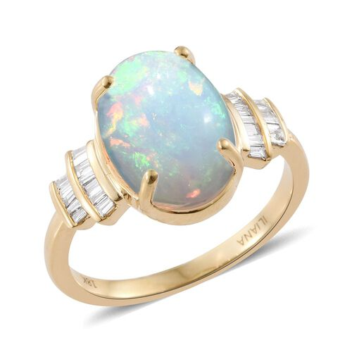 ILIANA 18K Y Gold AAA Ethiopian Welo Opal (Ovl 4.00 Ct), Diamond (SI/ G-H) Ring 4.250 Ct.