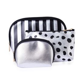 Set of 3 - Black and Silver Colour Stripe Pattern Big Cosmetic Bag (Size 23x15x7 Cm), Dots Pattern Middle Cosmetic Bag (Size 19x12x6 Cm) and Small Cosmetic Bag (Size 15x10x5 Cm)