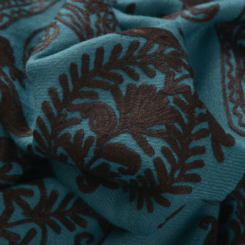 Limited Available - 100% Merino Wool Black Colour Leaf and Paisley Embroidered Indigo Colour Scarf (Size 190x70 Cm)