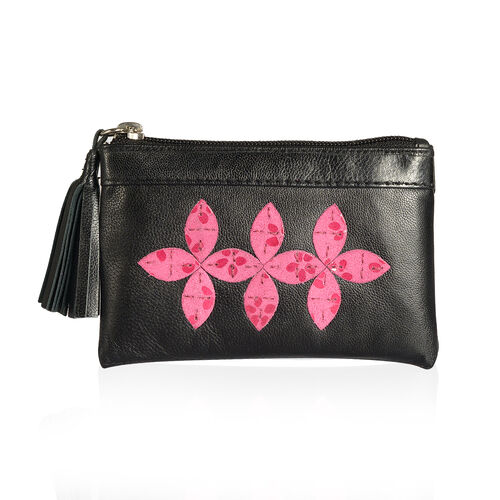 Genuine Leather Fuchsia Colour Floral Pattern RFID Blocker Black Colour Ladies Wallet with Tassels (Size 13x8x0.5 Cm)