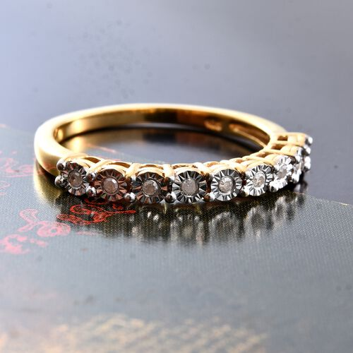 Diamond Silver Stacker Ring in Gold Overlay