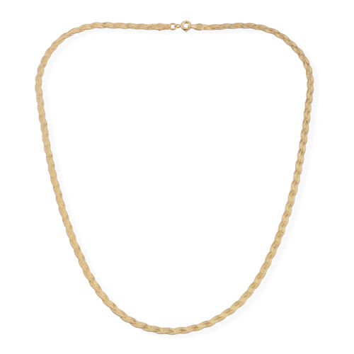 JCK Vegas Collection 14K Gold Overlay Sterling Silver Braided Herringbone Necklace (Size 18), Silver wt. 3.60 Gms.
