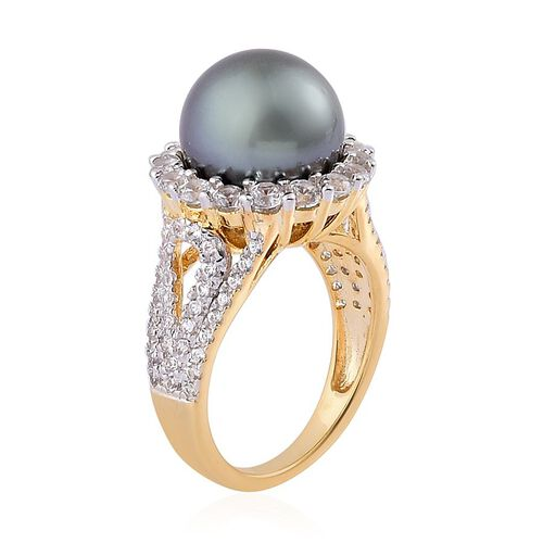 Tahitian Pearl (Rnd), White Zircon Ring in Yellow Gold Overlay Sterling Silver