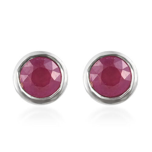 African Ruby Stud Earrings (with Push Back) in Platinum Plated Silver 0.75 Ct