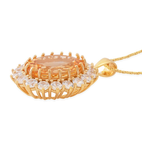 Collectors Edition - Rare AAA Uruguay Citrine (Ovl 16.00 Ct), Natural White Cambodian Zircon Pendant with Chain (Size 30) in 14K Gold Overlay Sterling Silver 22.500 Ct. Silver wt 11.75 Gms.