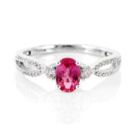 ILIANA 18K W Gold AAA Pink Sapphire (Ovl), Diamond (SI/G-H) Ring 1.190 Ct.