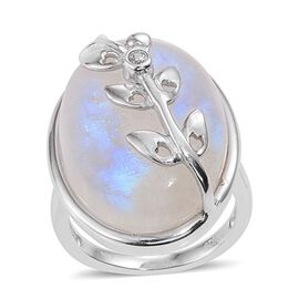 KIMBERLEY AAA Rainbow Moonstone (Ovl), Natural Cambodian Zircon Ring in Platinum Overlay Sterling Silver 31.500 Ct.