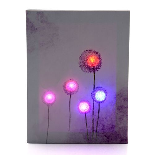 Home Decor - Dandelion Flower LED Prints Wall Hanging (Size 19.5x14.5 Cm)