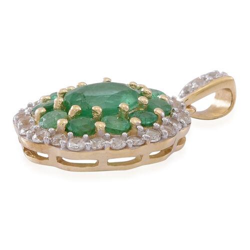 9K Y Gold AAA Kagem Zambian Emerald (Ovl), Natural Cambodian White Zircon Pendant 2.000 Ct.