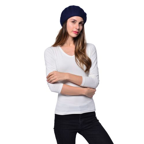 MILANO COLLECTION - 90% Merino Wool Navy Ladies Beret