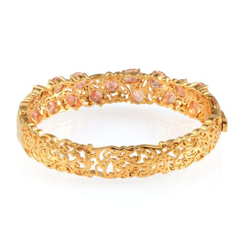 Tanzanian Sun Stone Bangle in 14K Gold Overlay Sterling Silver (Size 7.5) 10.500 Ct.