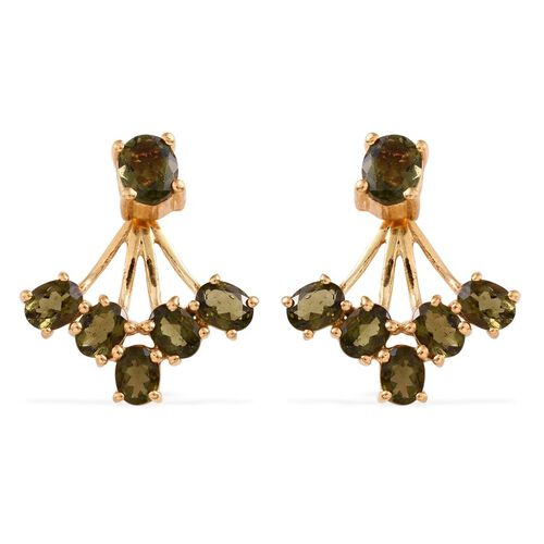 Bohemian Moldavite (Ovl) Jacket Earrings (with Push Back) in 14K Gold Overlay Sterling Silver 1.750 Ct.