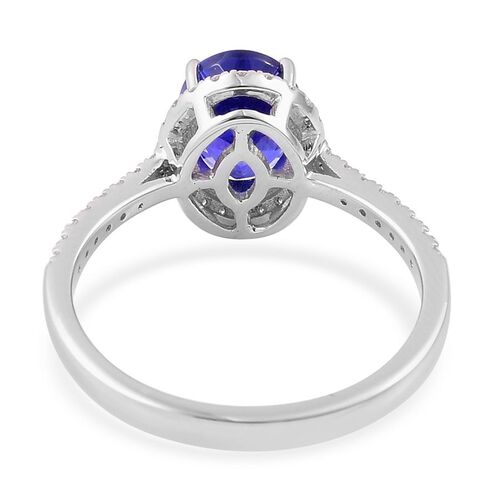 ILIANA 18K White Gold 2.15 Carat AAA Tanzanite Engagement Ring with Diamond SI G-H.