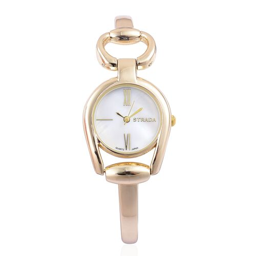 Designer Inspired - STRADA Japanese Movement Snaffle Gold Tone Watch