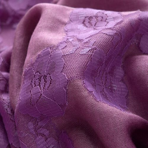 Hand Knitted - (50% Mulberry Silk and 50% Merino Wool) Purple Colour Nylon Floral Lace Scarf (Size 170x75 Cm)