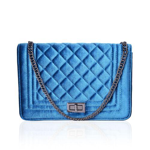 Designer Inspired - Peacock Blue Colour Diamond Pattern Velvet Crossbody Bag with Chain Strap (Size 23.5X15X7 Cm)
