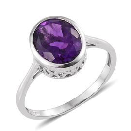 Amethyst (Ovl) Solitaire Ring in Platinum Overlay Sterling Silver 3.250 Ct.