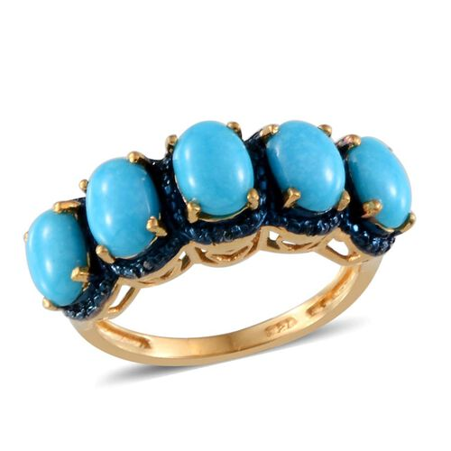 Arizona Sleeping Beauty Turquoise (Ovl), Blue Diamond Ring in 14K Gold Overlay Sterling Silver 2.270 Ct.