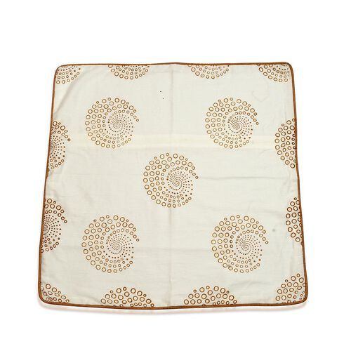 Hand Block Beige Floral Printed Cushion Cover (Size 24x24 inches)