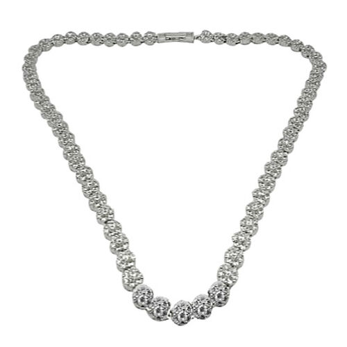 ELANZA AAA Simulated Diamond (Rnd) Necklace (Size 18) in Rhodium Plated Sterling Silver, Silver wt 31.50 Gms.