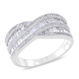ELANZA AAA Simulated White Diamond (Bgt) Criss Cross Ring in Rhodium Plated Sterling Silver, Silver wt 5.00 Gms.