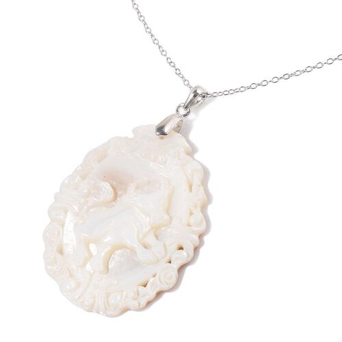 White Shell ZODIAC Taurus Pendant With Chain in Sterling Silver