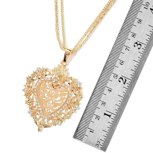 AAA White Austrian Crystal Heart Pendant With Chain in Yellow Gold Tone