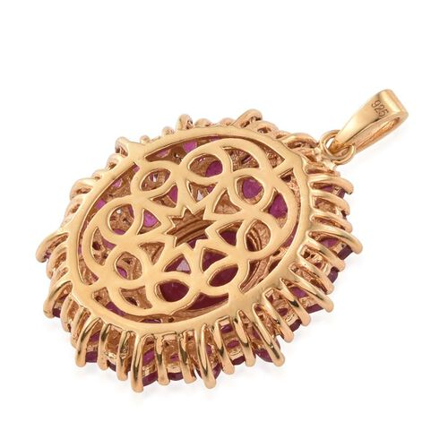 African Ruby (Ovl 3.40 Ct) Flower Pendant in 14K Gold Overlay Sterling Silver 9.750 Ct.